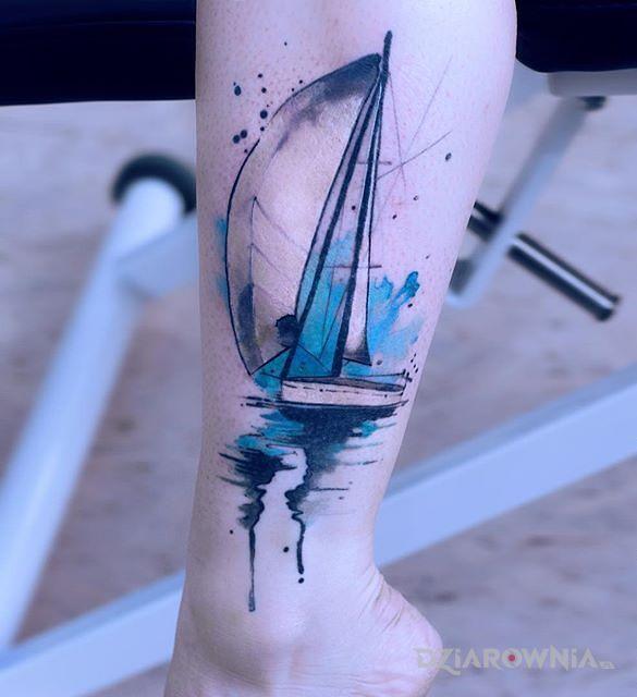 Tatuaż żaglówka - kolorowe