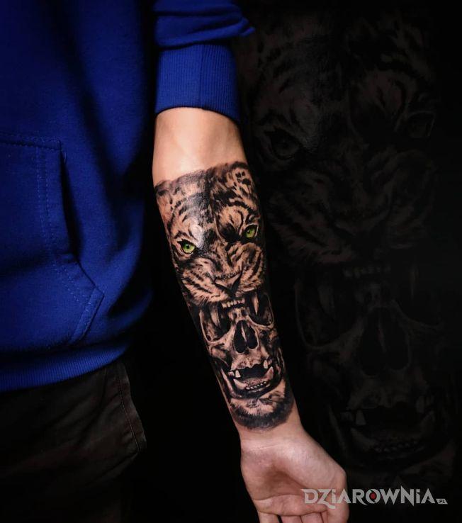 Tatuaż tygrysowa czaszka - zwierzęta