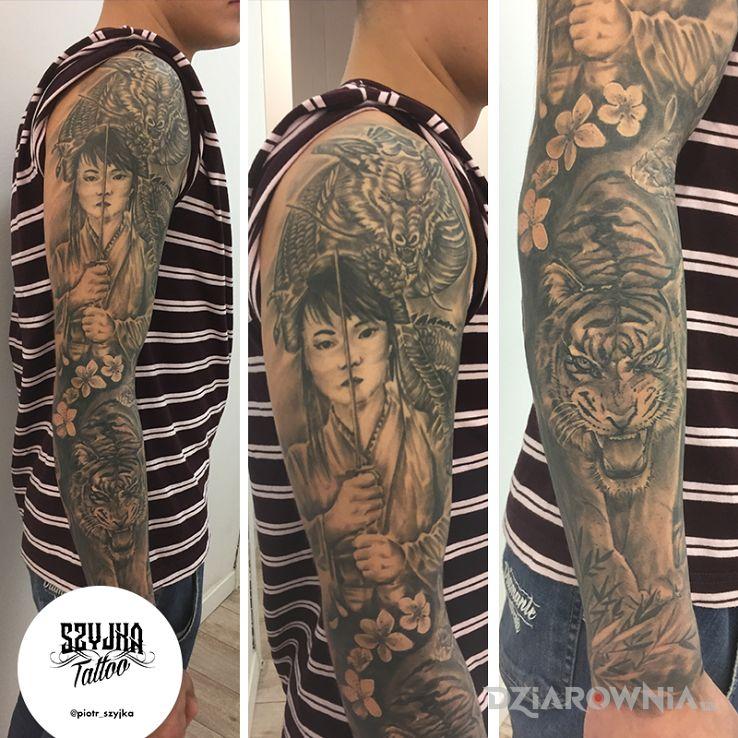 Tatuaż healed fullsleeve - japońskie