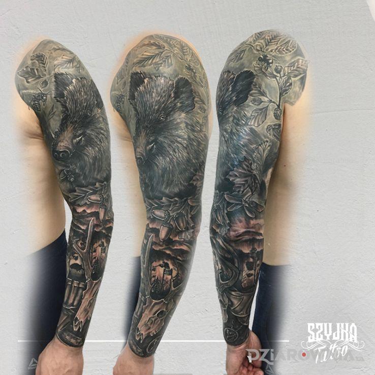 Tatuaż rękaw myśliwski - zwierzęta