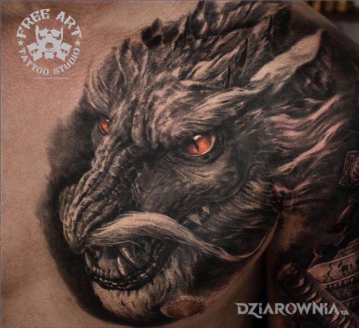 Tatuaż smok z wąsem - 3D