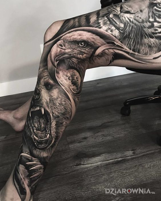 Tatuaż zwierzaki w natarciu - realistyczne