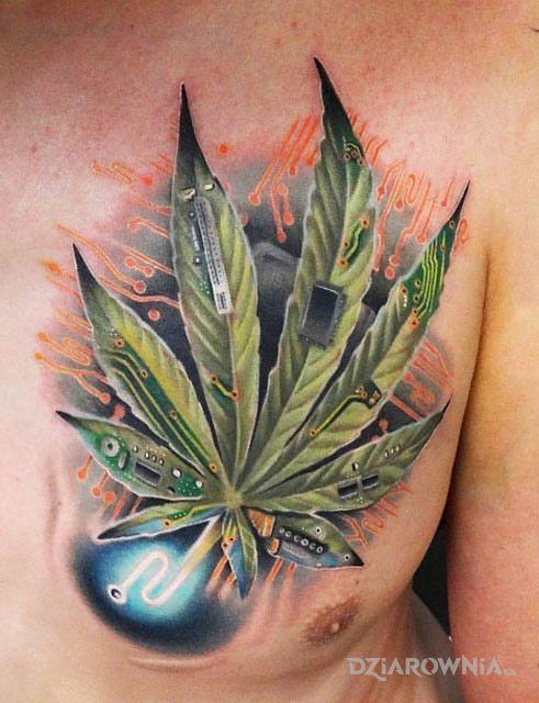 Tatuaż marihuana technologiczna w motywie pozostałe i stylu realistyczne na klatce