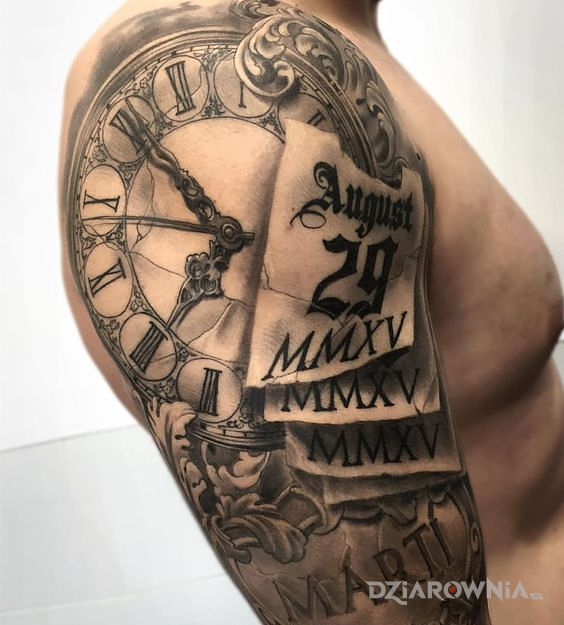 Tatuaż Zegar I Kalendarz Autor Tomek Dziarowniapl
