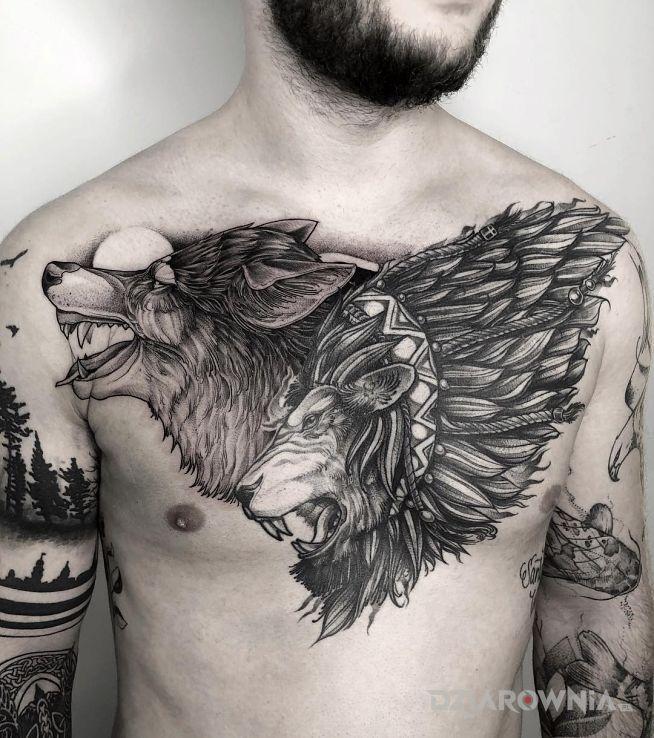 Tatuaż Wilk I Lew Autor Majka Dziarowniapl