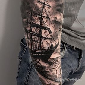 Morze, podróże, statek, mapa