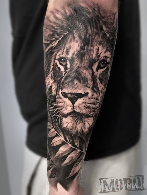 Tatuaż lew - realistyczne