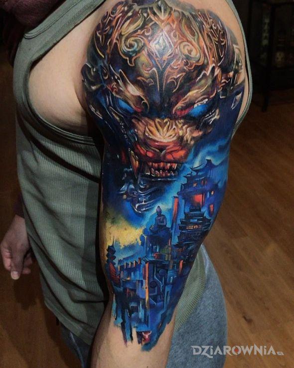 Tatuaż chiński lew w motywie demony i stylu graficzne / ilustracyjne na ramieniu