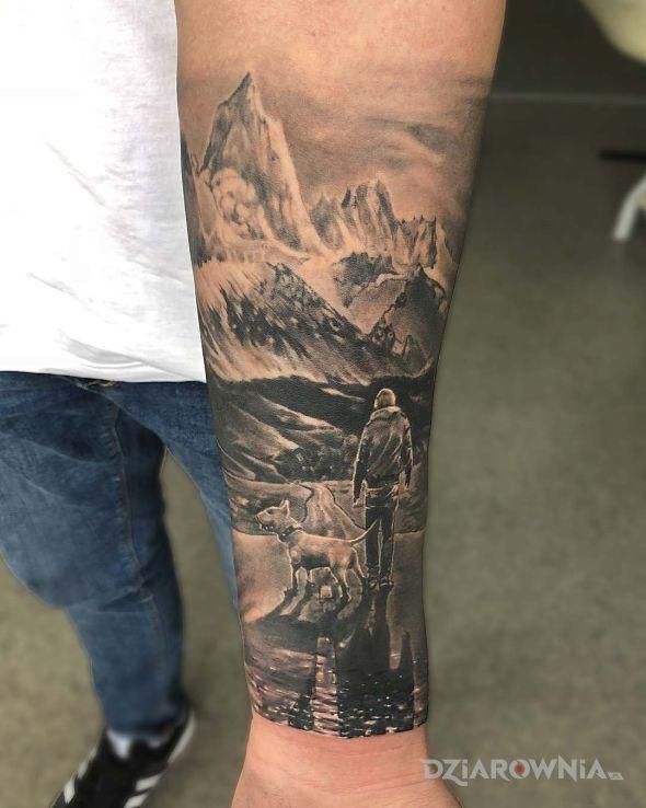 Tatuaż człowiek z psem w motywie 3D i stylu realistyczne na przedramieniu