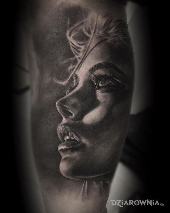 Tatuaż portret kobiety - 3D