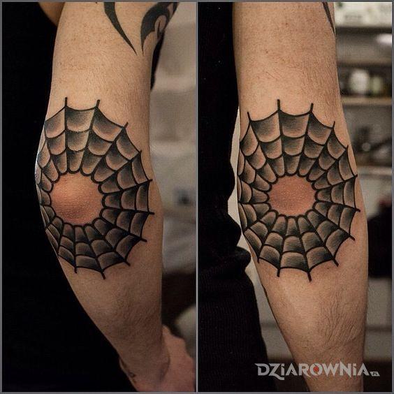 Tatuaż Pajęczyna Na łokciu Autor Sajmon Dziarowniapl