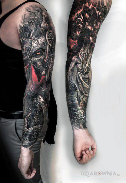 Tatuaż siły ciemności - realistyczne