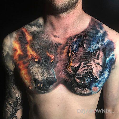 Tatuaż wilk vs tygrys - realistyczne