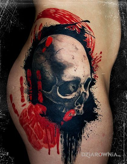Tatuaż czaszka i heya - trash polka