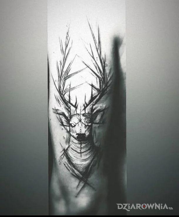 Tatuaż Jeleń Autor Rafał Ruchała Dziarowniapl