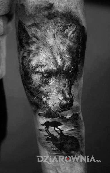 Tatuaż samotny wilk