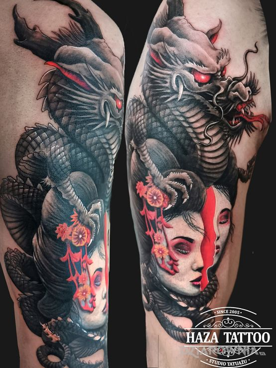 Tatuaż gejsza - zwierzęta