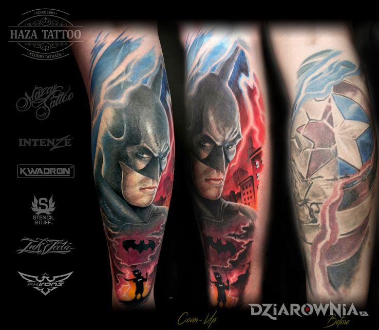 Tatuaż batman pokonał kapitana amerykę - twarze