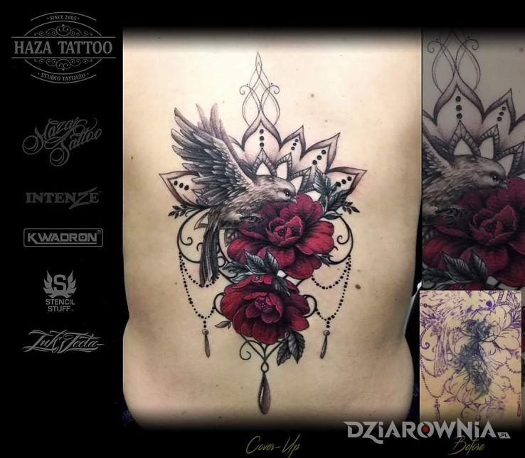 Tatuaż cover róże mandala - kolorowe