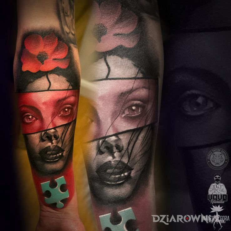 Tatuaż abstrakcyjna twarz - twarze