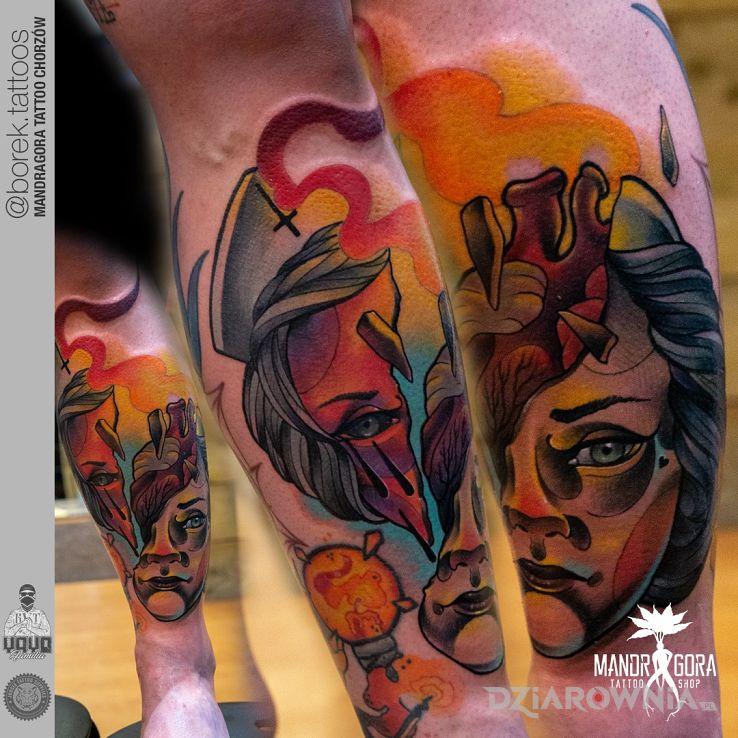 Tatuaż neotradycyjna twarz - kolorowe