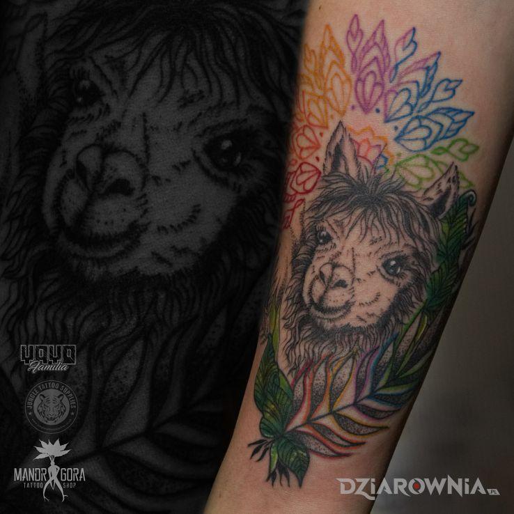 Tatuaż alpaka - mandale