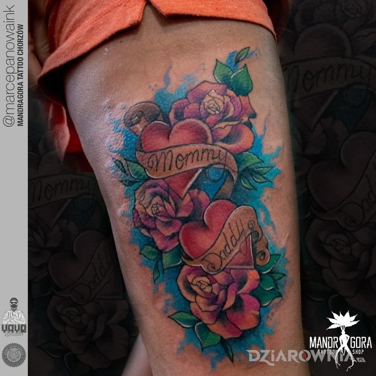 Tatuaż dla rodziców - kwiaty