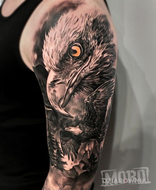 Tatuaż orzeł orły las - 3D