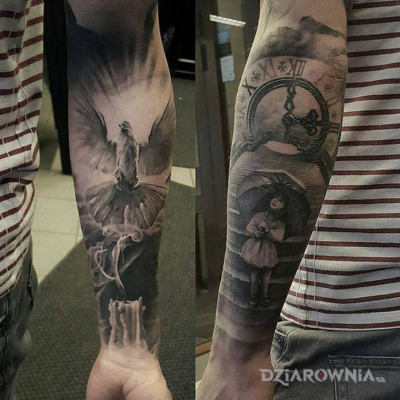 Tatuaż dziewczynka i gołąb - 3D