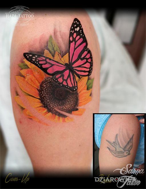 Tatuaż cover motyl słonecznik - 3D