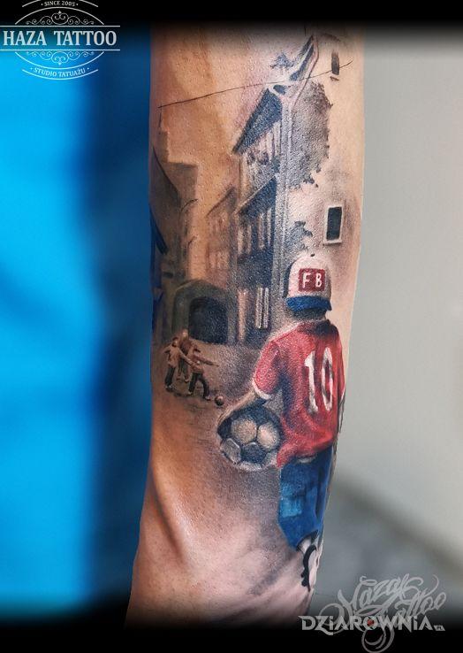 Tatuaż piłkarz blokowisko - 3D