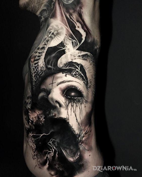 Tatuaż przerażająca twarz - twarze