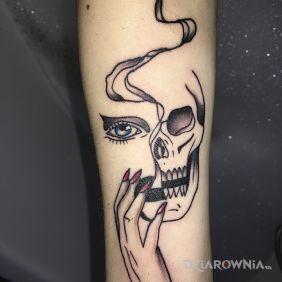 Kobieca twarz+ czaszka
