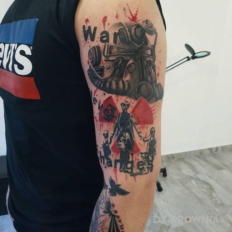 Tatuaż fallout trash polka - rękawy