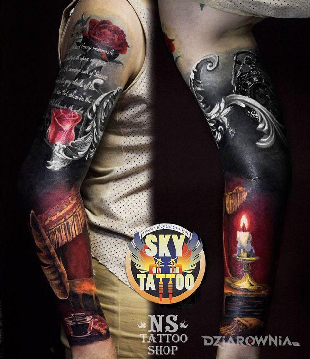 Tatuaż rękaw inaczej - kolorowe