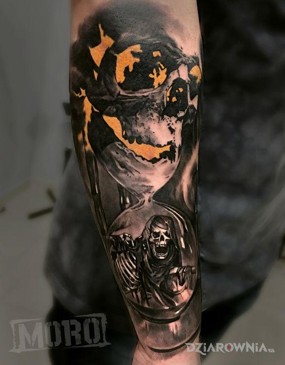 Tatuaż czaszkaklepsydrazombi - 3D