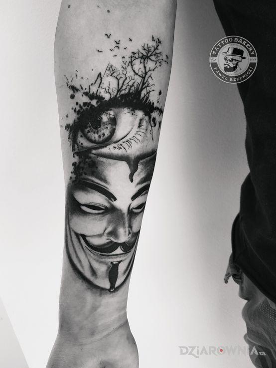 Tatuaż maska - czarno-szare