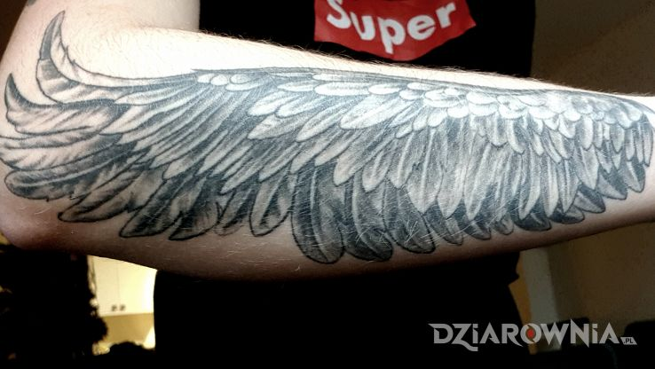 Tatuaż skrzydlo - czarno-szare