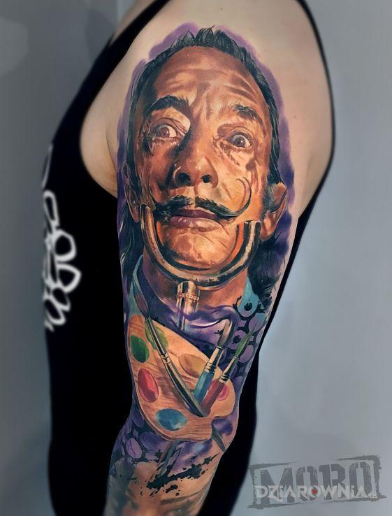 Tatuaż salvador dali kolorowy portret - 3D