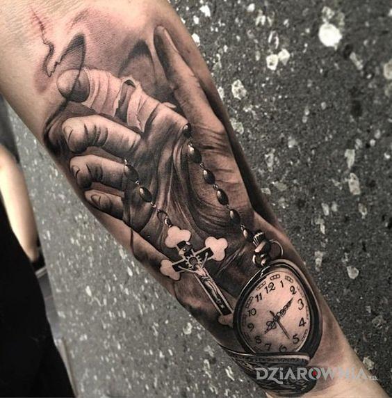 Tatuaż różaniec - czarno-szare
