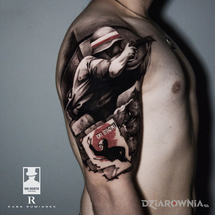 Tatuaż polska walczaca - czarno-szare