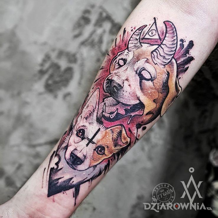 Tatuaż demoniczne zwierzęta - kolorowe
