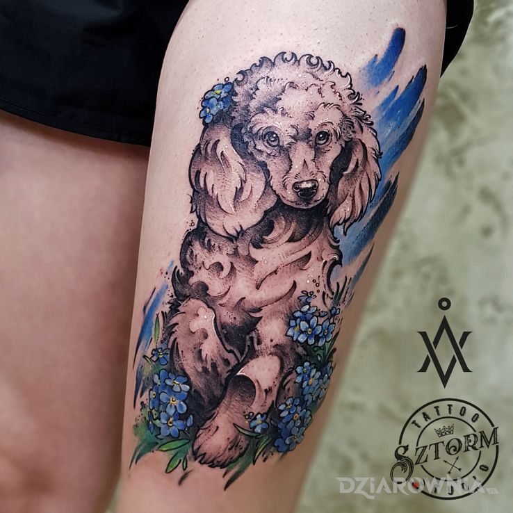 Tatuaż szczęśliwy psiak - kolorowe