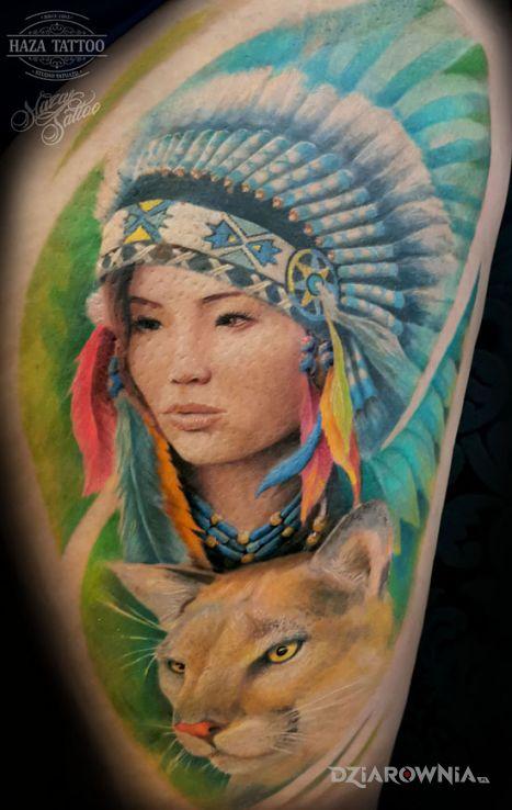 Tatuaż indianka puma - kolorowe