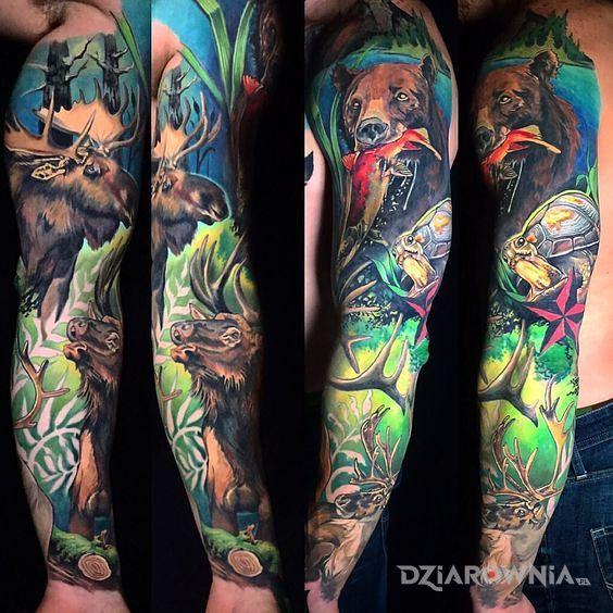 Tatuaż leśny klimat w motywie zwierzęta i stylu kreskówkowe / komiksowe na przedramieniu