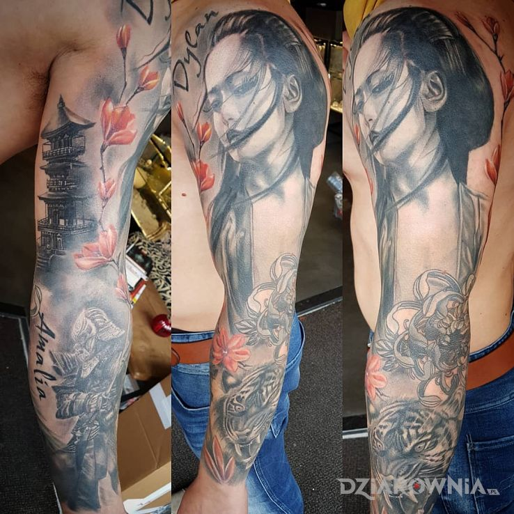 Tatuaż japońska dziewczyna w motywie rękawy i stylu realistyczne na ramieniu