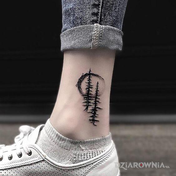 Tatuaż dwie choinki - czarno-szare