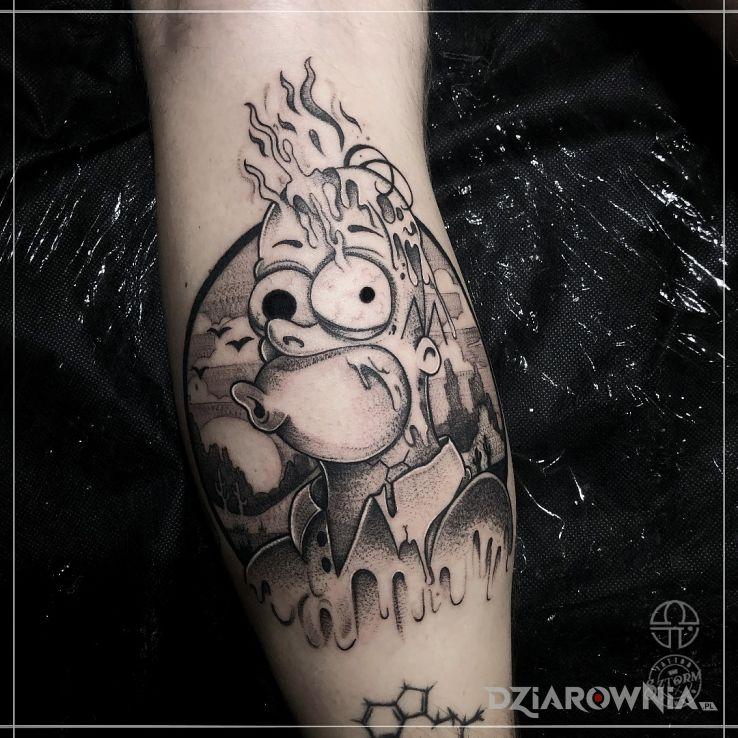 Tatuaż homer simpson w ogniu - czarno-szare