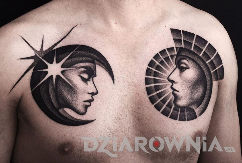 Tatuaż dwie twarze
