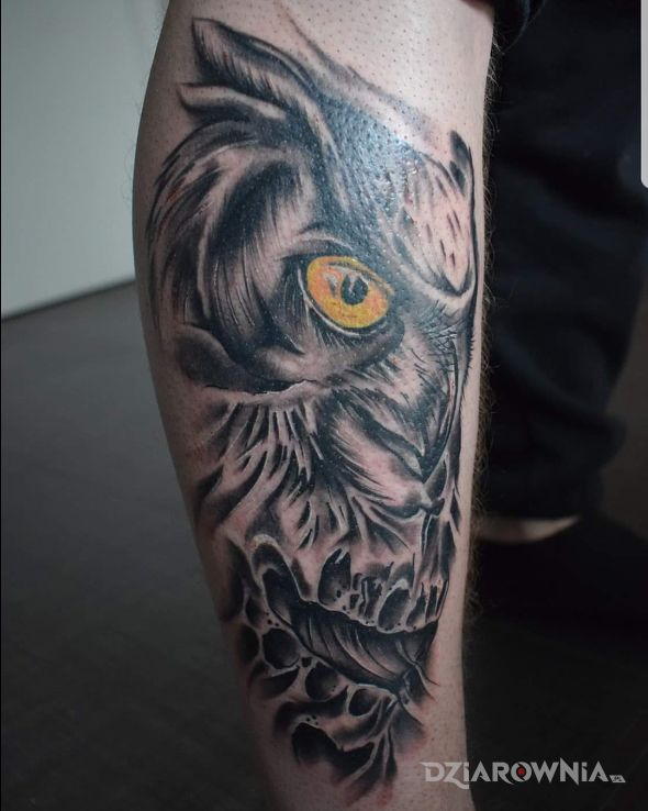 Tatuaż sówka - czaszki